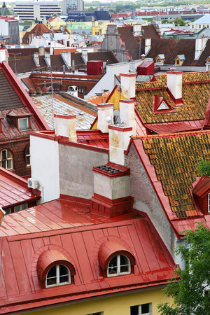 old city: view of roofs of the old city, Tallinn, Estonia Stock Photo
