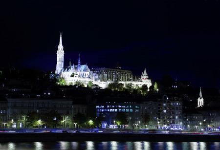 Night view of Fishermens Bastion and Matthias Church, Budapest, Hungary Stock Photo