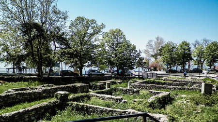 Tomis ruins in Constanca. Tomis is 5th century roman ruins. Architecture concept.