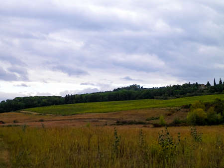 Autumn in Italy - Tuscan fields and hills on a cloudy day. Copy space on cloudy sky. 免版税图像