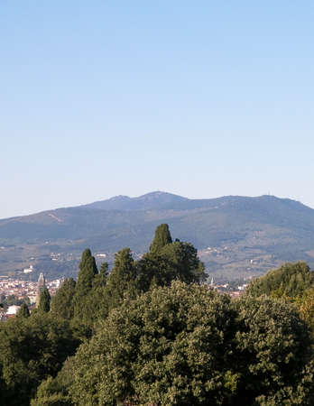 View of the Apennines near Florence, Tuscany. Vacations in Italy, travel concept.