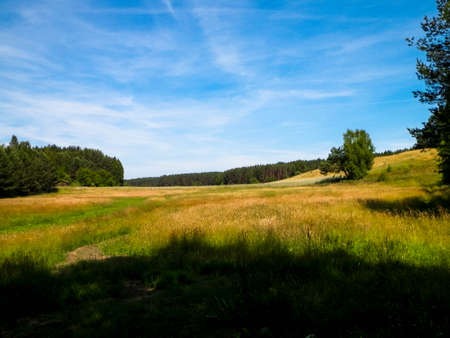 Nature landscape of field in Kashubian village. Nature and agriculture concept.