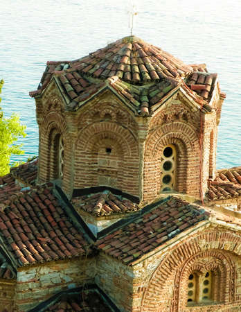 Monastery of st. John at Kaneo. Architure, tourism and religion concept. Church of st. John at Kaneo is one of the most characteristic churches at Ochrid Lake coast, and placed in a City of Ochrid.