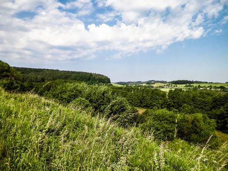 Hills, fields and meadows - beautiful landscape of Wiezyca, Kashubia Region, northern Poland. Copy Space on blue sky. 版權商用圖片
