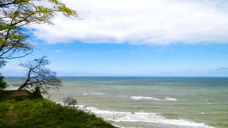 Beautiful Baltic Sea coast in Jastrzebia Gora, Poland. Travel and exploration concept.