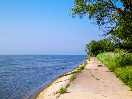 The estuary of the Vistula was seen from Sobieszewska island. Nature of northern Poland.