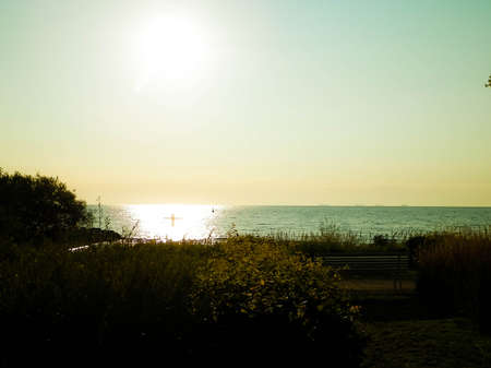 Summer nature - Beautiful view of sunset over Baltc Sea in Gdynia, Poland. Nature and travel concept.