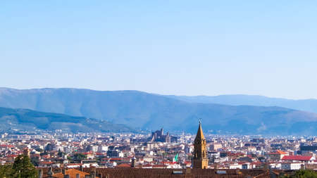 View of Florence from the Boboli gardens. Vacation in Tuscany, Italy. Travel and Architecture concept.