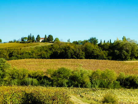 Hills, fields and meadows - typical views of Tuscany. Travel, nature and agriculture concept. Vacations in Italy. Copy space. 版權商用圖片