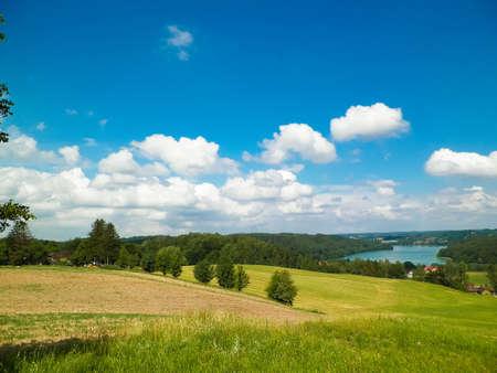 Beautiful view of Ostrzyckie Lake and hills of Wiezyca Region, Pomerania, Kashubia, Poland. 版權商用圖片