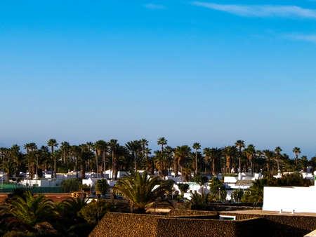 Landscape of Playa Blanca, Lanzarote Canary Islands. Tourism concept.