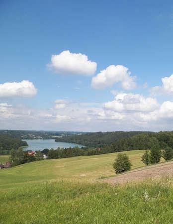 Beautiful view of Ostrzyckie Lake and hills of Wiezyca Region, Pomerania, Kashubia, Poland. Stok Fotoğraf