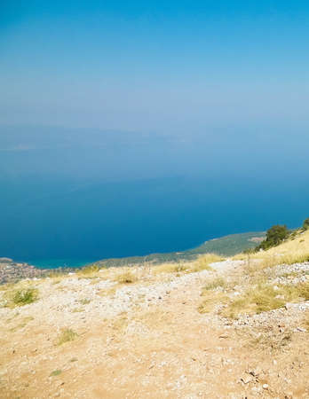 View form top of mountains in Galicica National Park, Macedonia. Galicica is National Park between two lakes - Ochrid and Prespa Lake, known of it's wild nature. Offroad in Macedonia, balkan nature and exploration concept.