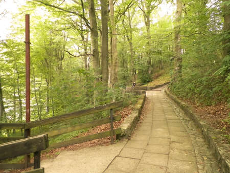 Landscape of park in Wiezyca, Kashubian Region, Poland. Traveling and vacations concept.