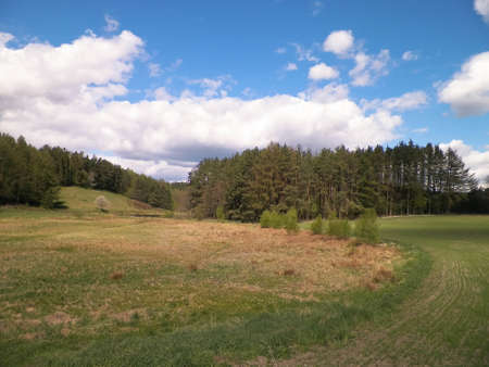 Hills, meadows and forest typical landscape of Kashubian Region, Northern Poland. Travel and nature concept.