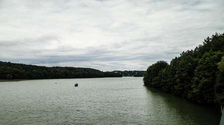 Landscape of Ostrzyckie Lake in Wiezyca, Kashubian region, Poland. Traveling concept.