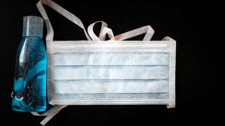 Antibacterial fluid and mask. Coronavirus protection kit. Hygiene is very important to avoid infection of voronavirus.