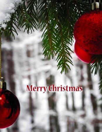 Christmass balls on tree. Christmas time. Copy space and Merry Christmas text. Christmas greetings card. 版權商用圖片