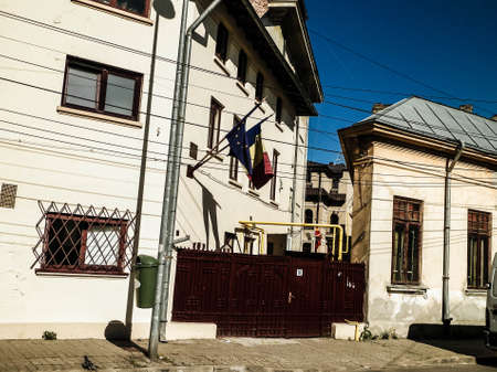 Architecture of residental area in Bucharest. Buildings in capital of Romania. Architecture concept.