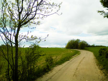 Offroad in Kashubia - typical landscape of Kashubian Region, Northern Poland. Travel and nature concept.