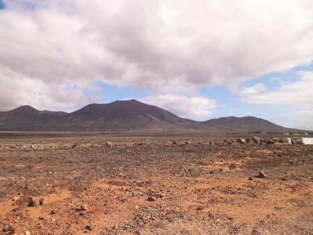 Desert - Typical landscape of Lanzarote, Canary Islands. Travel and nature concept.