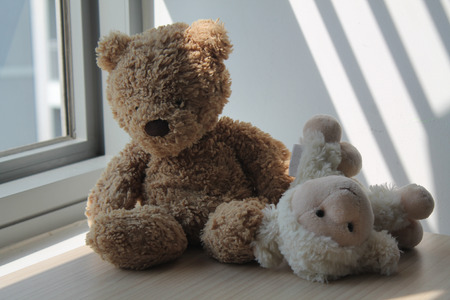 Bear and lamb (sheep) toy sitting by the window in shadows Stock Photo