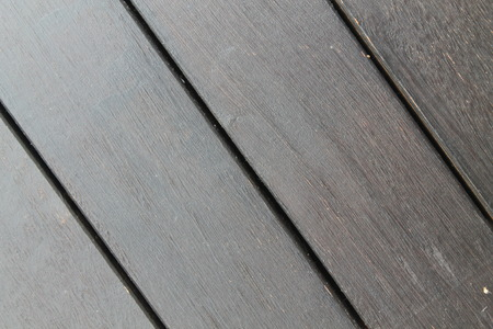 Background texture of wooden decking with parallel planks with gaps