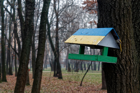 Feeders for bird . tree house for the birds, cheerful apartment Stock Photo