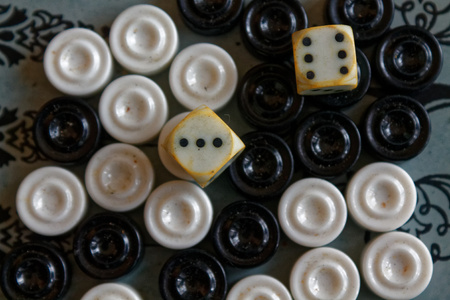 Backgammon opened, mini table game for journey, top view Stock Photo
