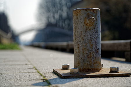 Mooring bollard for river boat, steel post for moorings.