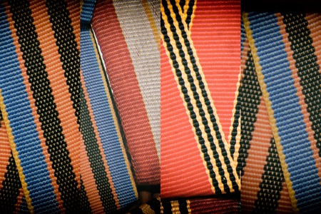 Ribbons texture, macro textile background for web site or mobile devices, fabric swatch. Stock Photo