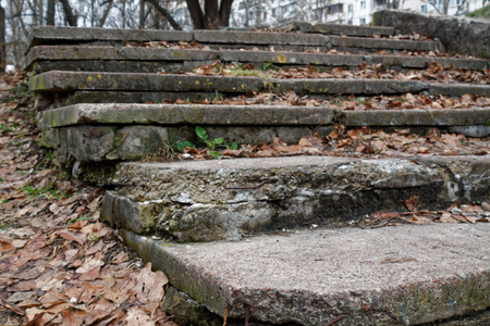 Brick grunge Stone stairs with autumn leafs, background for web site or mobile devices