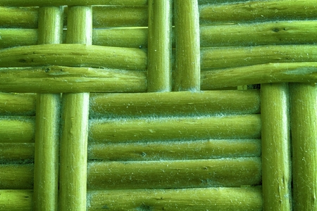 Golden lime painted Wooden wicker texture of basketwork for background use. Stock Photo