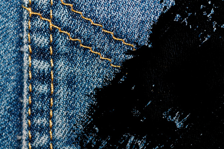 Grunge dirty Closeup of obsolete blue jeans pocket Denim texture, macro background for web site or mobile devices. Stock Photo