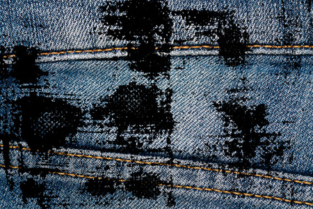 Grunge dirty Closeup of obsolete blue jeans laces Denim texture, macro background for web site or mobile devices. Standard-Bild - 104887382