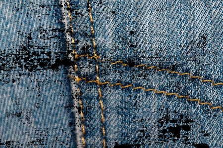 Dirty grunge Closeup of obsolete blue jeans pocket Denim texture, macro background for web site or mobile devices.