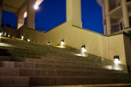 modern minimalism style stairs with night lighting Stock Photo