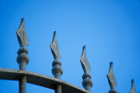 Forged iron fence closed up ornament