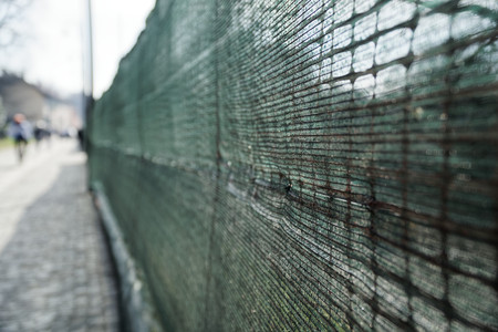 fence of Site protection from plastic. Stock Photo