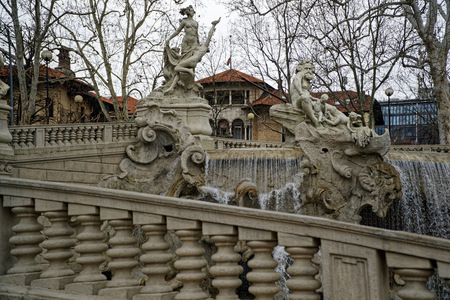 Fountain on the park Square in Torino, Italy.
