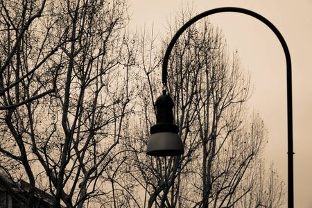 Old vintage street light, lantern at the evening embankment
