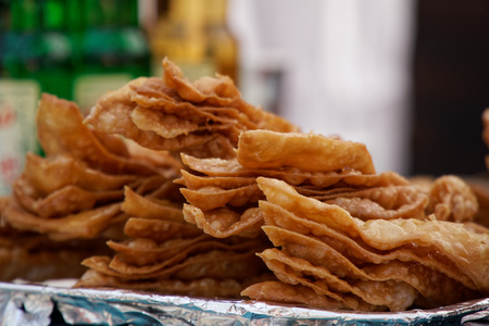 Cheburek with meat and suluguni cheese in a row