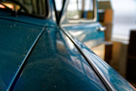 Detail of retro car window and body part, selective focus. 写真素材