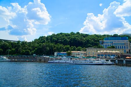 Beautiful view on a river Dnieper on summer, Kyiv, Ukraine.