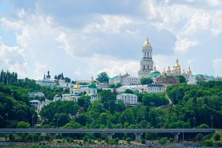 Kyiv cityscape with with Kiev Pechersk Lavra monastery and the Motherland Monument, Ukraine. Kiev Pechersk Lavra or the Kiev Monastery of the Caves Reklamní fotografie