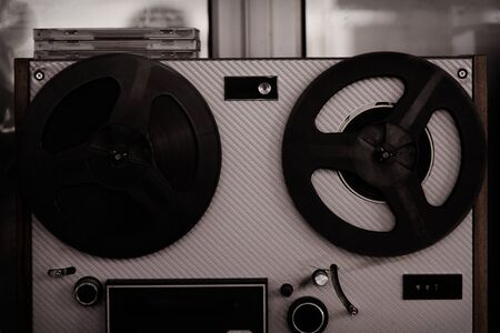 Reel tape recorder, old, vintage, portable reel to reel tube tape-recorder Reklamní fotografie