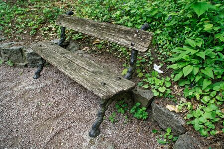 Old wooden bench, place for relax and meditation