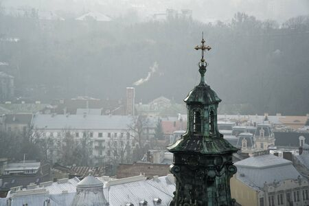 Church dome tower in Lviv, the European city of Culture.