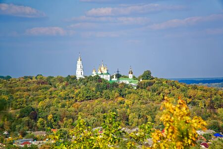 Monastery caves - view from the banks of Vorskla River in early autumn.