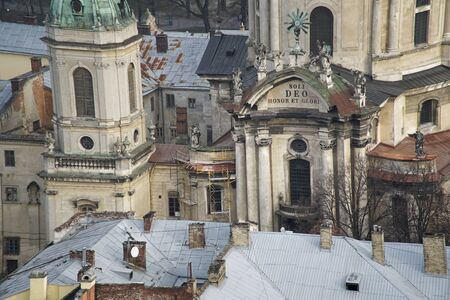 Lviv panorama. Aerial view on the old centre of Lviv in Western Ukraine, with on the left the Uspensky church and on the right the Dominican church and the Town Hall.